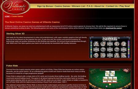 Villento Casino lobby games