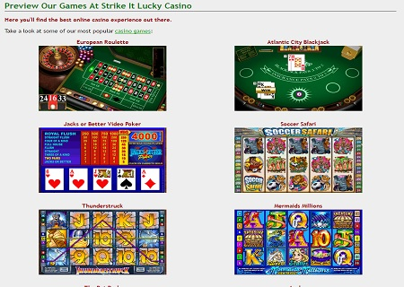 strike it lucky casino games
