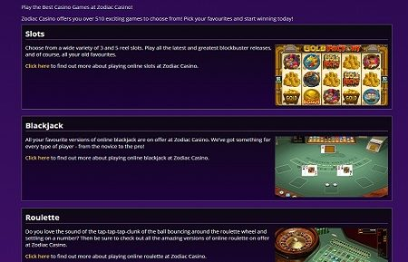 zodiac casino game lobby